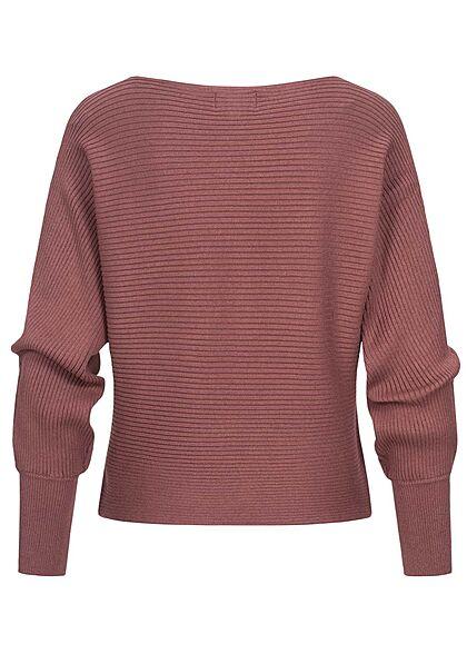 ONLY Damen NOOS Ribbed U-Boot Sweater Pullover rose braun