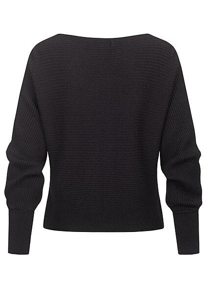 ONLY Damen NOOS Ribbed U-Boot Sweater Pullover schwarz