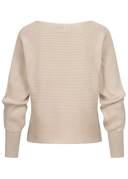 ONLY Damen NOOS Ribbed U-Boot Sweater Pullover pumice stone beige