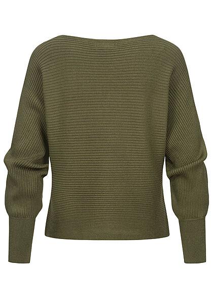 ONLY Damen NOOS Ribbed U-Boot Sweater Pullover kalamata oliv grün
