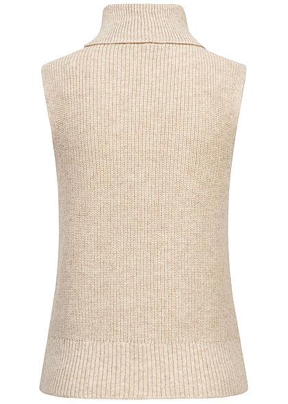 ONLY Damen Ribbed Rollkragen Strickweste Pullunder pumice stone beige