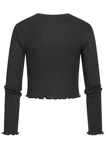 ONLY Damen Cropped Longsleeve Pullover Frill schwarz