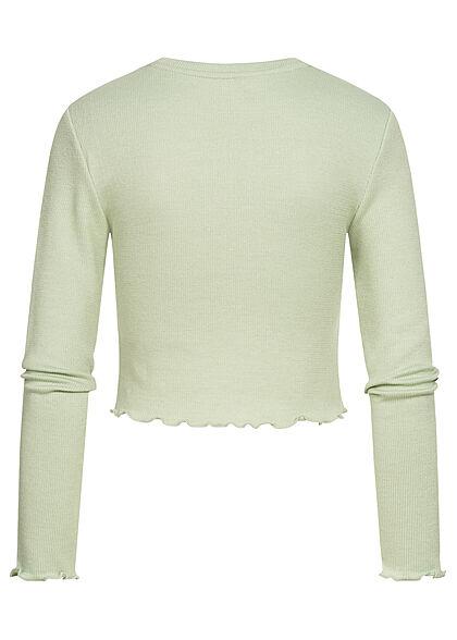 ONLY Damen Cropped Longsleeve Pullover Frill frosty grün