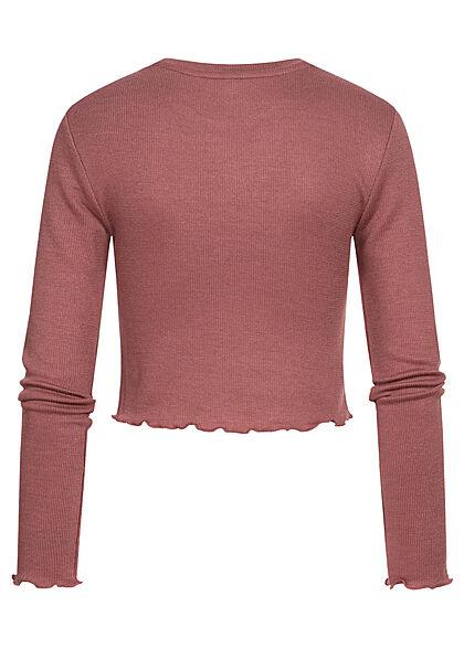 ONLY Damen Cropped Longsleeve Pullover Frill rose braun