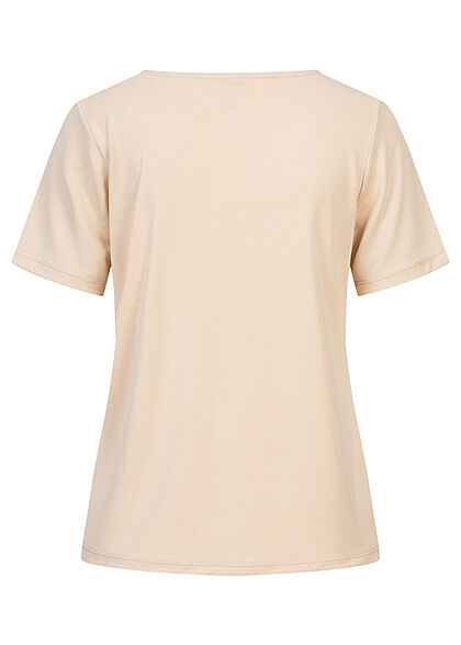 ONLY Damen V-Neck T-Shirt cement beige