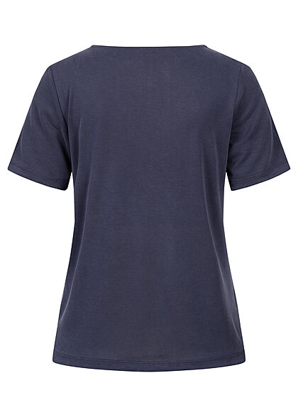 ONLY Damen V-Neck T-Shirt evening blau