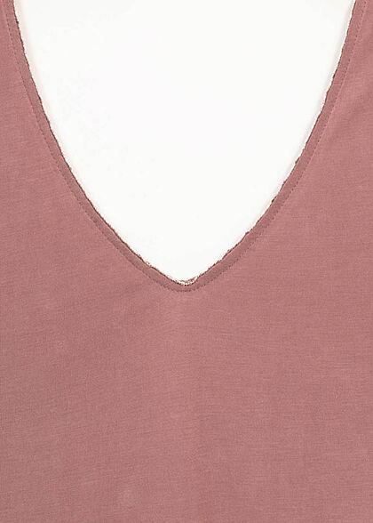 ONLY Damen V-Neck T-Shirt rose braun