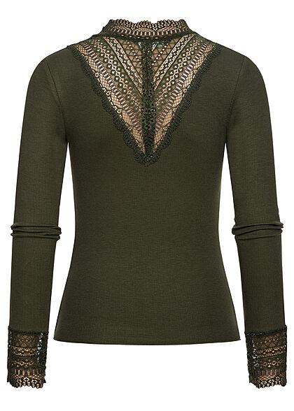 ONLY Damen NOOS High-Neck Longsleeve Pullover Spitzenbesatz rosin d. grün