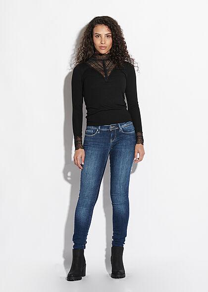 ONLY Damen NOOS High-Neck Longsleeve Pullover Spitzenbesatz schwarz