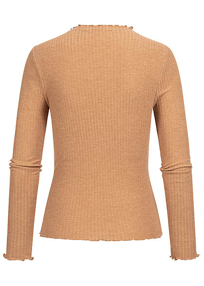 ONLY Damen NOOS Ribbed Frill Longsleeve Pullover tobacco braun