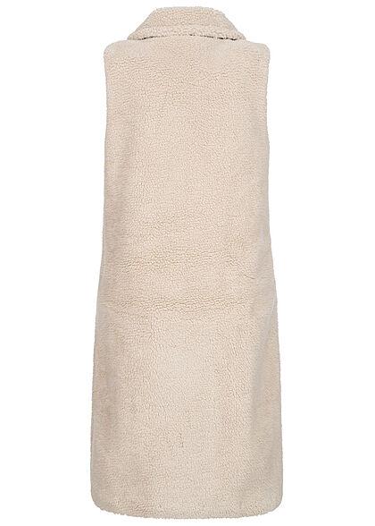 ONLY Damen Longform Teddyfell Weste Knopfleiste 2-Pockets moonbeam beige