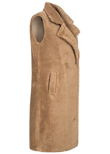 ONLY Damen Longform Teddyfell Weste Knopfleiste 2-Pockets nomad beige