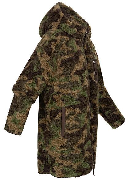 ONLY Damen Longform Teddyfell Jacke Kapuze Brusttasche Camo Print kalamata oliv grün