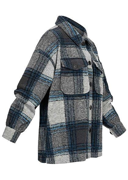 ONLY Damen kurze Shacket Hemdjacke 2 Brusttaschen Karo Muster graphit blau grau