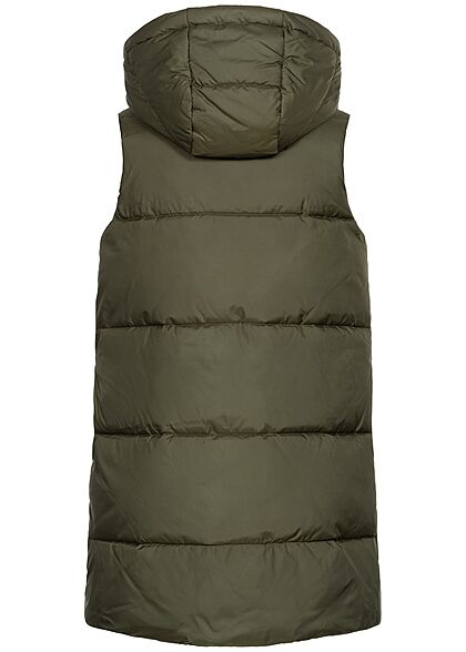 ONLY Damen Longform Steppweste Kapuze 2-Pockets forest night oliv grün