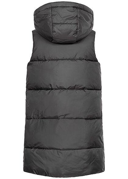 ONLY Damen Longform Steppweste Kapuze 2-Pockets schwarz