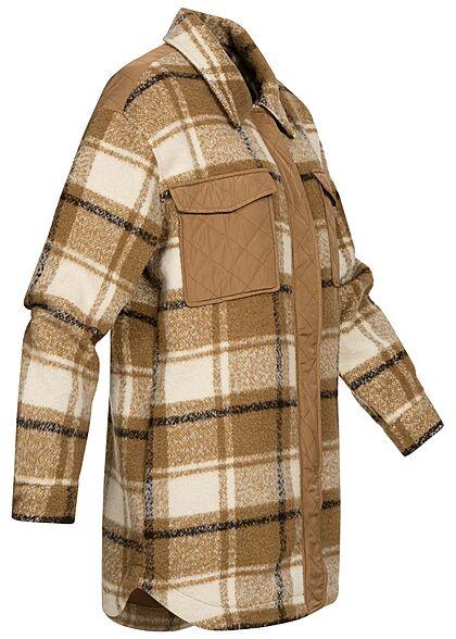ONLY Damen Shacket Hemd Jacke 2 Brusttaschen Karo Muster toasted coconut braun