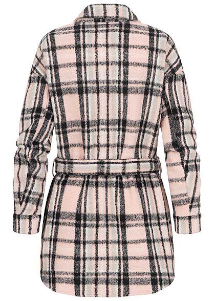ONLY Damen Shacket Hemd Jacke inkl. Bindegürtel Karo Muster sepia rosa schwarz