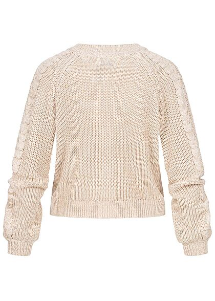 ONLY Damen V-Neck Struktur Cardigan Strickjacke pumice stone beige