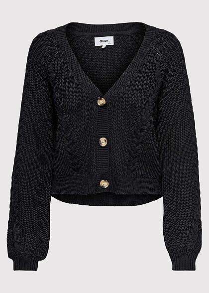 ONLY Damen V-Neck Struktur Cardigan Strickjacke schwarz