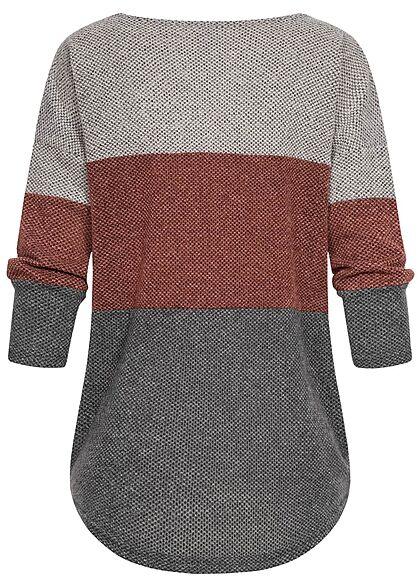 ONLY Damen 4/5-Arm U-Boot Sweater Pullover 3-Tone hell grau melange grün braun