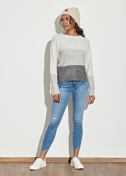 JDY by ONLY Damen NOOS 3-Tone Colorblock Sweater dunkel grau melange hell grau