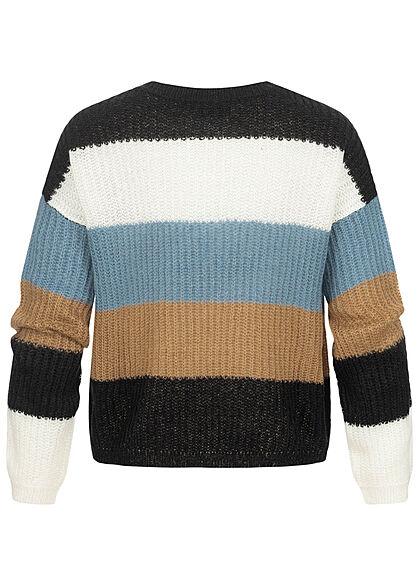 JDY by ONLY Damen Colorblock Strickpullover Sweater captains blau schwarz weiss