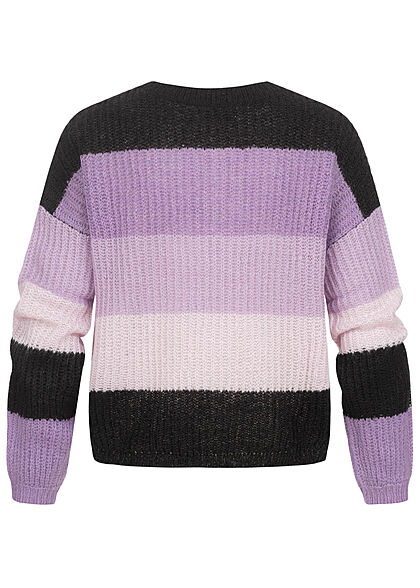 JDY by ONLY Damen Colorblock Strickpullover Sweater orchid mist lila rosa schwarz