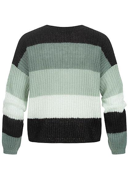 JDY by ONLY Damen Colorblock Strickpullover Sweater north atlantic grün schwarz