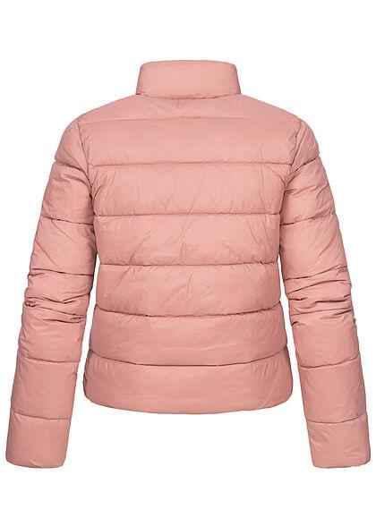 JDY by ONLY Damen kurze Steppjacke Stehkragen 2-Pockets woodrose rosa