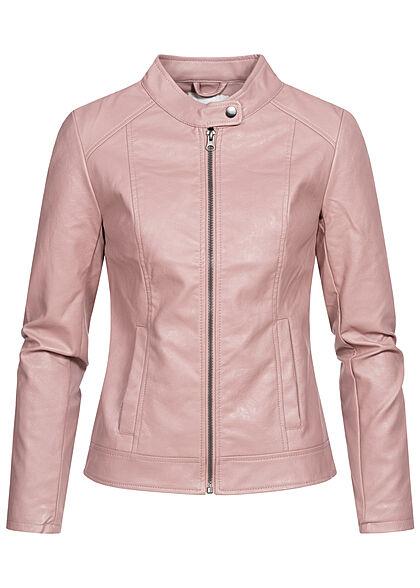 JDY by ONLY Damen NOOS Kunstleder Jacke 2-Pockets woodrose rosa