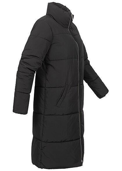 JDY by ONLY Damen Longform Puffer Steppjacke Stehkragen 2-Pockets schwarz