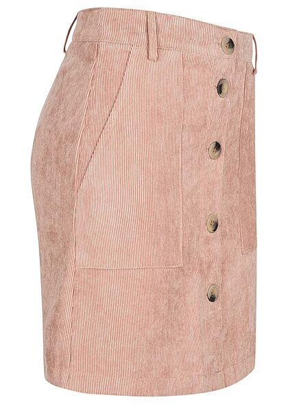 JDY by ONLY Damen Mini Rock Kord Optik Knopfleiste 2-Pockets woodrose rosa