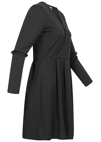 JDY by ONLY Damen V-Neck Mini Kleid Wickeloptik schwarz