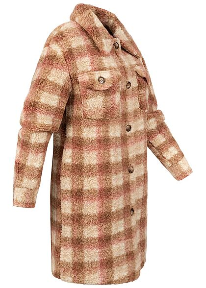JDY by ONLY Damen Longform Teddyfell Jacke 2-Pockets Karo Muster cloud d. weiss braun