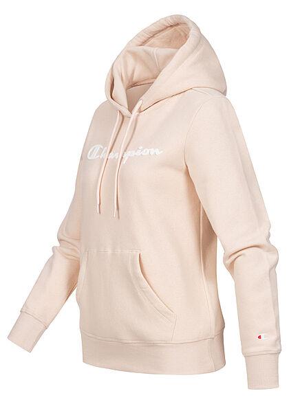 Champion Damen Hoodie Kängurutaschen Kapuze Logo Print grau beige