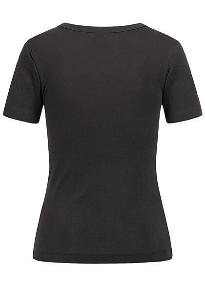 Champion Damen Ribbed T-Shirt Logo Print schwarz