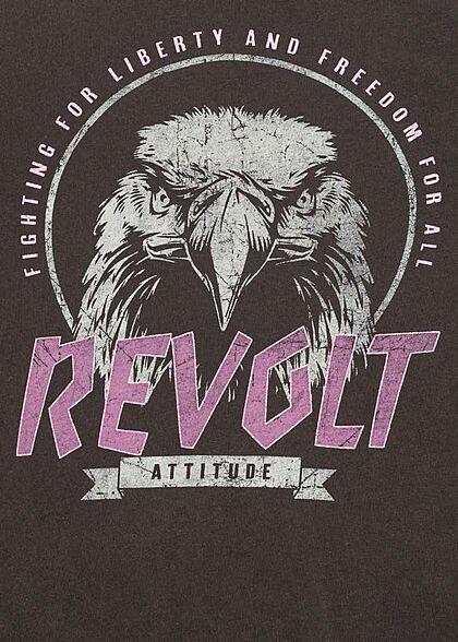 ONLY Damen T-Shirt Revolt Print mit Rollsaumkante phantom dunkel grau pink