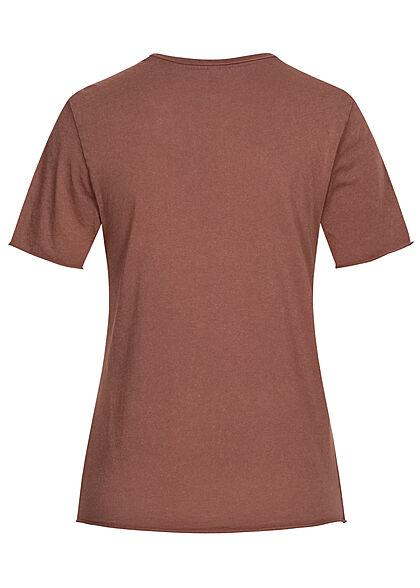 ONLY Damen T-Shirt Freedom Print mit Rollsaumkante rose braun pink