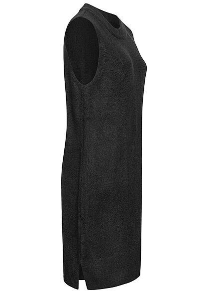JDY by ONLY Damen O-Neck Strickkleid ohne Ärmel mit seitl. Schlitzen schwarz