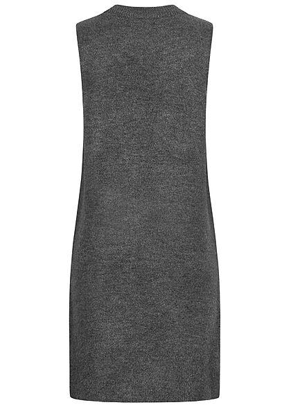 JDY by ONLY Damen O-Neck Strickkleid ohne Ärmel mit seitl. Schlitzen dunkel grau