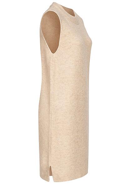 JDY by ONLY Damen O-Neck Strickkleid ohne Ärmel mit seitl. Schlitzen tapioca beige