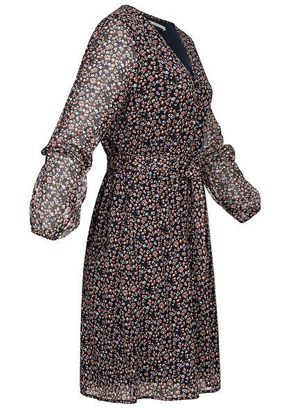 ONLY Damen NOOS 3/4 Arm V-Neck Chiffon Kleid Blumen Print 2-lagig night sky blau