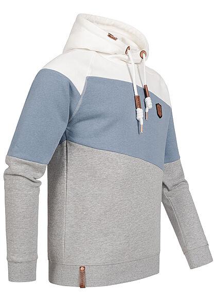 Indicode Herren Colorblock Hoodie mit Logo Patch Kapuze Tunnelzug weiss blau grau