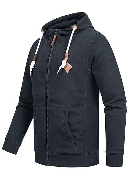 Indicode Herren Zip-Hoodie mit Kapuze 2-Pockets Kontrast Tunnelzug navy blau