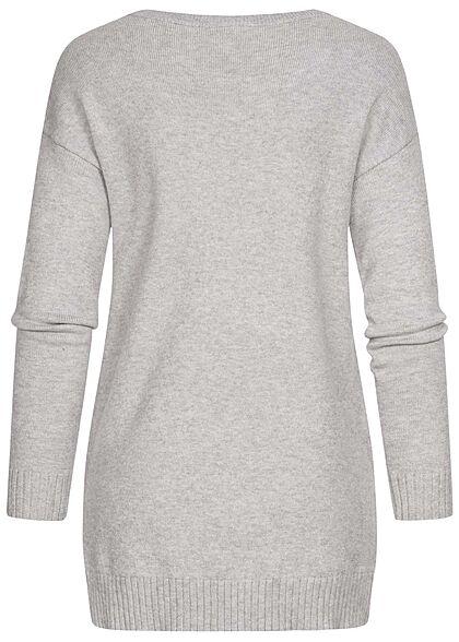 VILA Damen NOOS weicher Strickpullover Sweater Vokuhila hellgrau melange