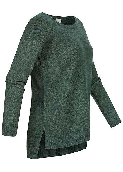 VILA Damen NOOS weicher Strickpullover Sweater Vokuhila darkest spruce grün