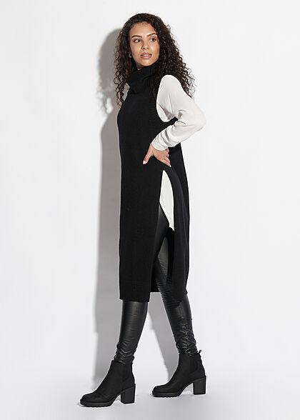 VILA Damen NOOS Longform Rollkragen Pullunder Strickweste schwarz