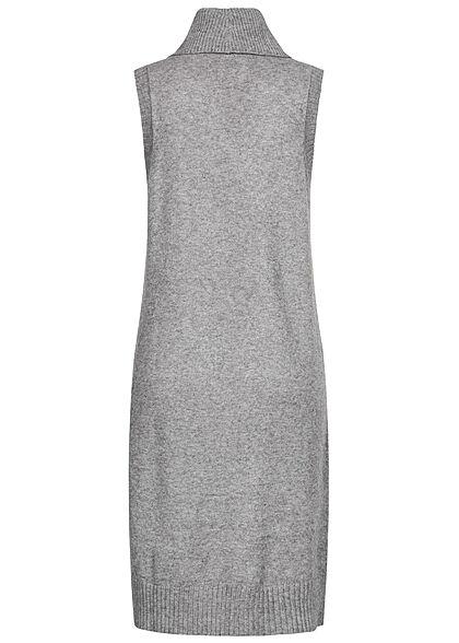 VILA Damen NOOS Longform Rollkragen Pullunder Strickweste medium grau mel.