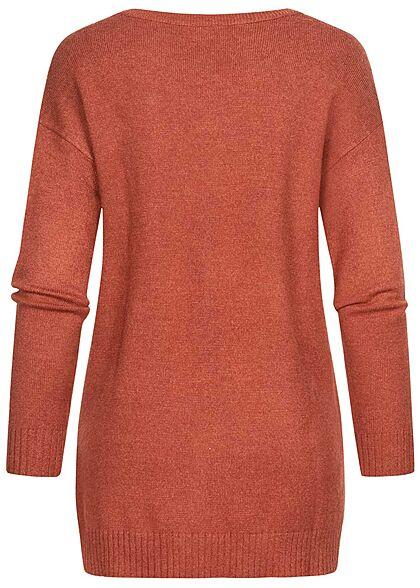 VILA Damen NOOS weicher Strickpullover Sweater Vokuhila burnt henna braun